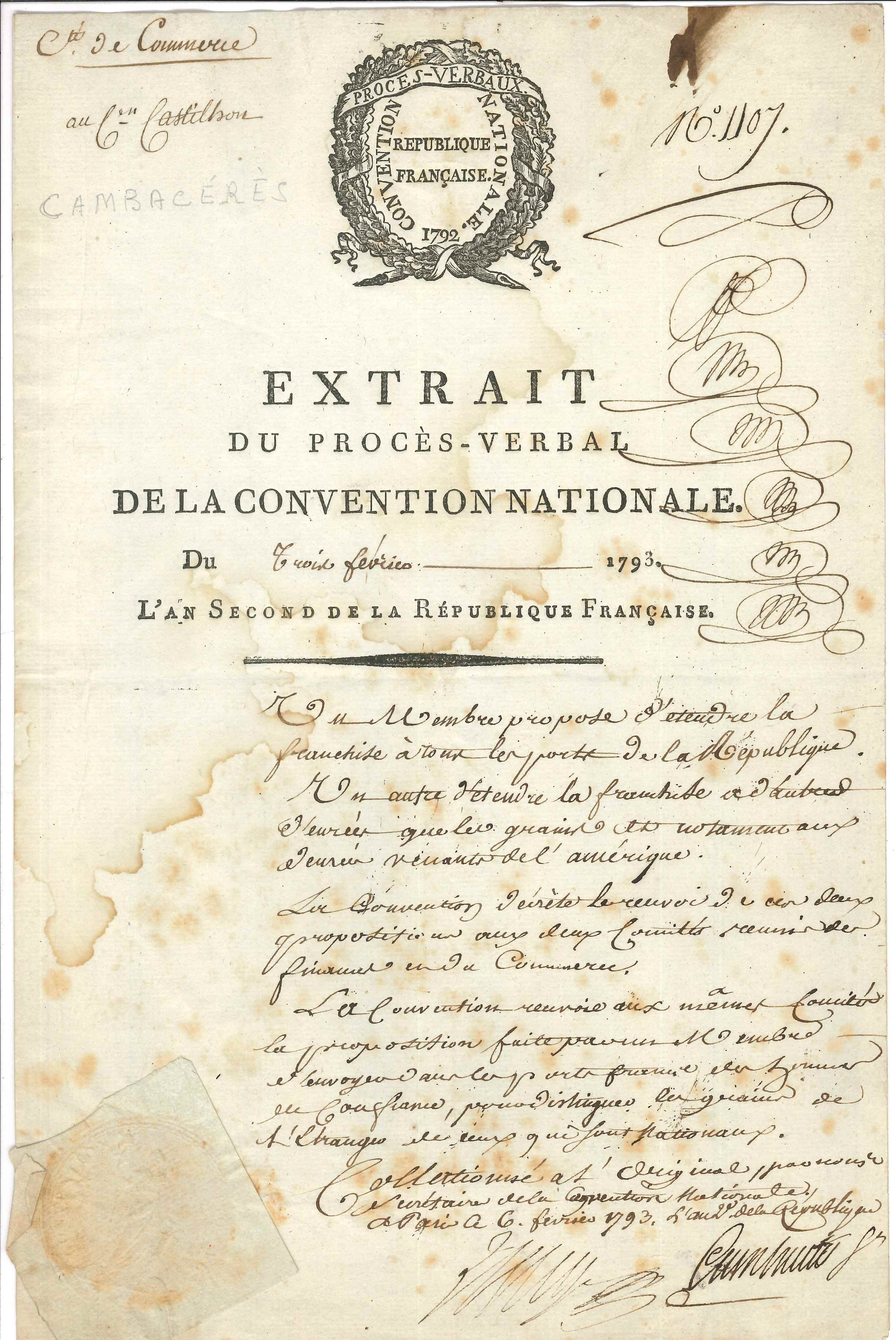 043. Jean-Jacques-Régis de CAMBACÉRÈS (1753-1824) conventionnel (Hérault), ministre, Consul, rédacteur du Code civil, Archichancelier de l'Empire Image
