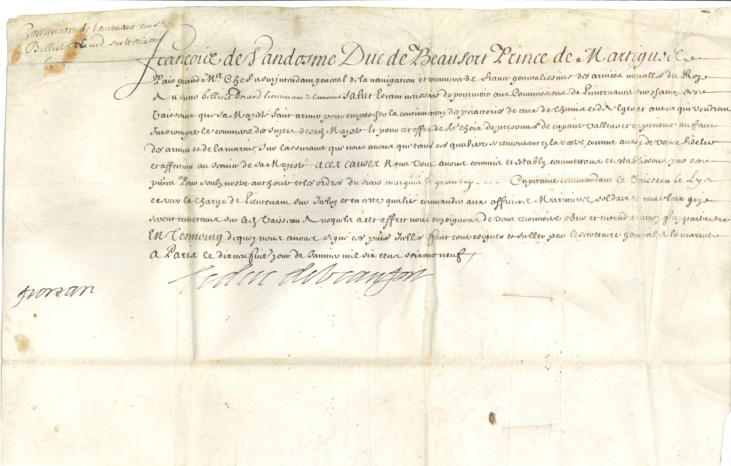 017 François de Vendôme, duc de BEAUFORT (1616-1669) amiral, un des chefs de la Fronde, surnommé «le Roi des Halles», mort au siège de Candie Image